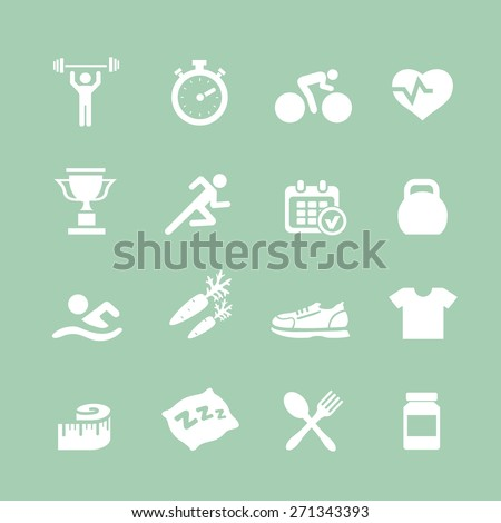 Health and Fitness  white icons  vector set icons with a stopwatch bodybuilder weights dumbbells heart with pulse trainer shoes bottled water - stock vector