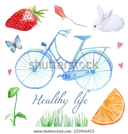 Health and life. Natural watercolor set. Hand drawn cute illustration with bicycle, butterfly, fruit, animals and plants.  - stock vector