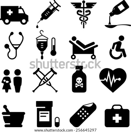 Health and Medical icon set. Vector icons for digital and print projects. - stock vector