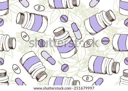 Health and Nature Supplements Collection.  Seamless pattern with herbs and pills.  Elderberry - Sambucus  - stock vector