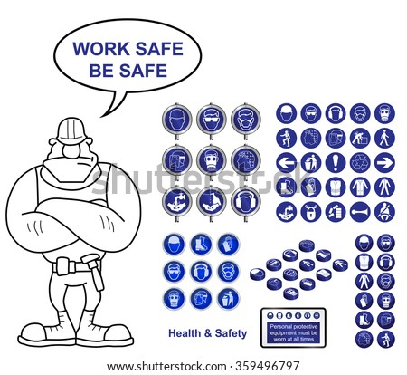 Health and Safety construction icons and sign collection with work safe be safe message isolated on white background - stock vector