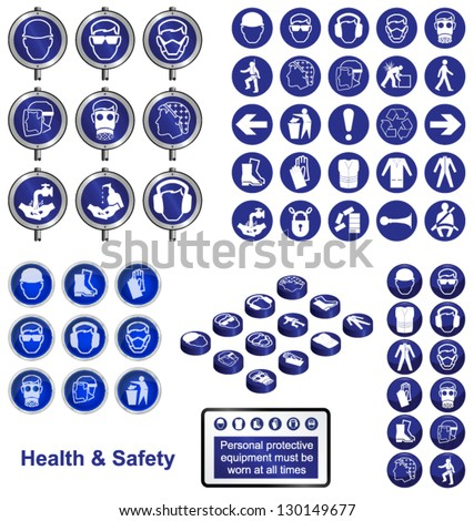 Health and Safety icons and sign collection - stock vector