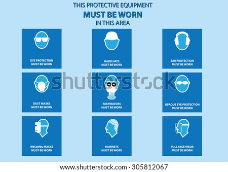 health and safety warning, mandatory signs for head and face (eye protector, hard hats, respirator, ear protector, dusk mask, opaque eye, welding mask, hairnets, full face visor). vector illustration  - stock vector
