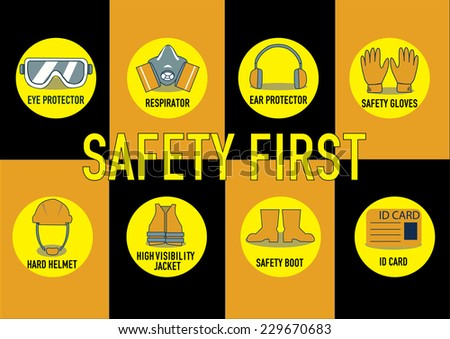 health and safety warning signs. vector illustration - stock vector