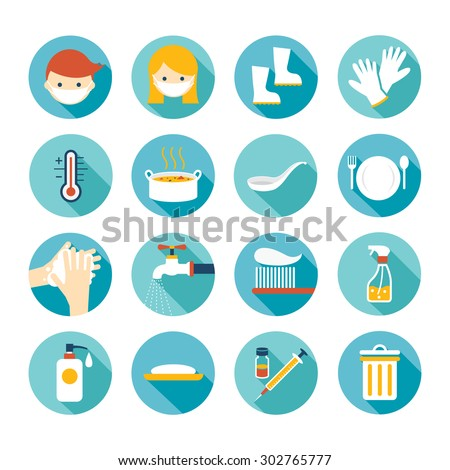 Health and Sanitation Flat Icons Set, Cleanness, Contagious Disease Prevention and Secure - stock vector