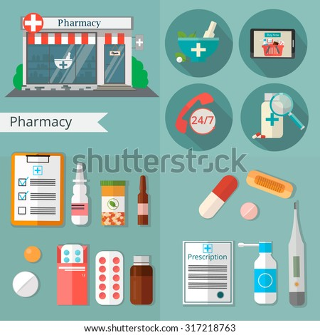 Health care and medical equipment. First aid, medicines, pharmacy. Flat design modern vector illustration of medical icons - stock vector