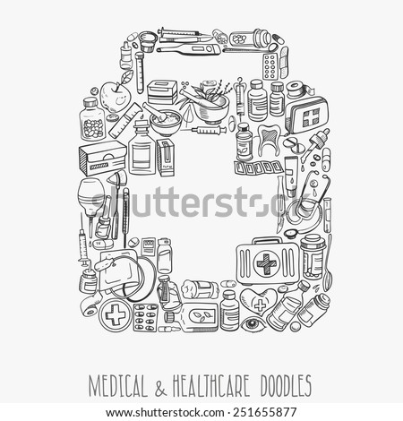 Health care and medicine doodle background. Vector illustration - stock vector