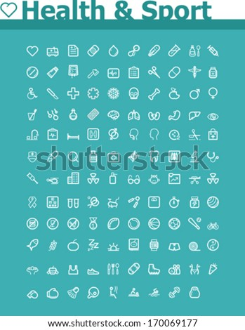 Health care and sport icon set - stock vector