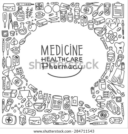Health care doodle icons background, vector illustration - stock vector
