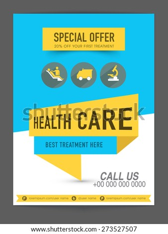 Health Care flyer presentation showing special discount offer on first treatment with medical icons. - stock vector