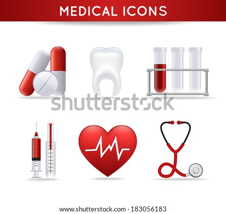 Health care medical icons set of pills heart rate tooth and stethoscope isolated vector illustration - stock vector