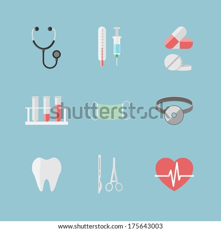 Health care pictograms for hospital website isolated vector illustration - stock vector