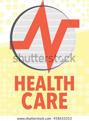 Health care poster with medical symbols - heart beat - stock vector