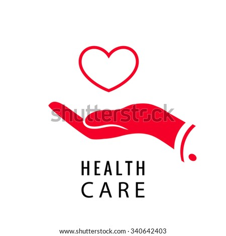 health care red heart in a hand - stock vector