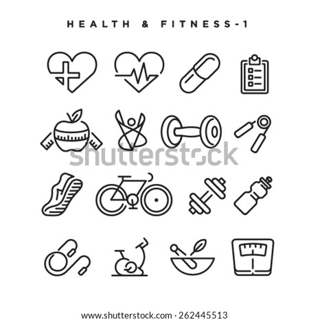 Health & Fitness vector icons. Elements for print, mobile and web applications. - stock vector