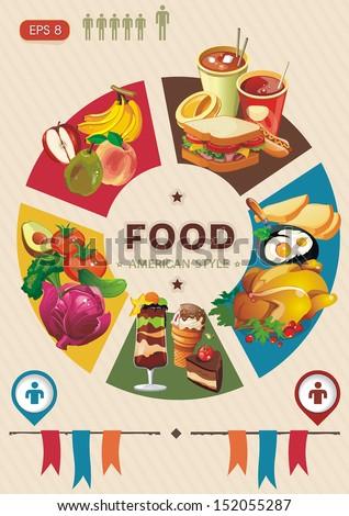 Health food info graphic. Elegance Ingredients Vintage Retro. - stock vector