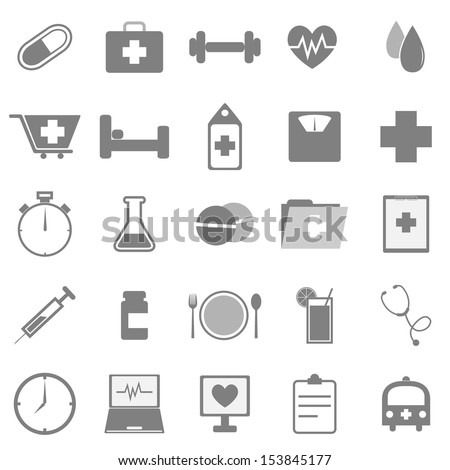 Health icons on white background, stock vector - stock vector