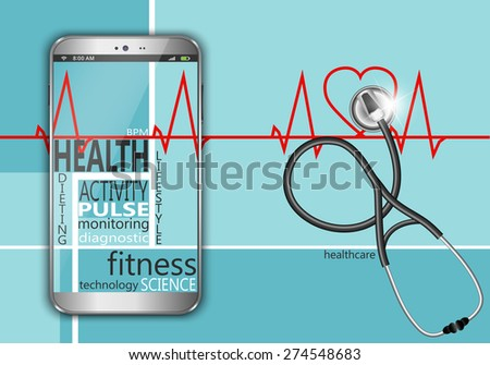 Health lifestyle modern technology, smartphone monitoring. - stock vector