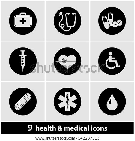 Health & Medical Icon Set - stock vector