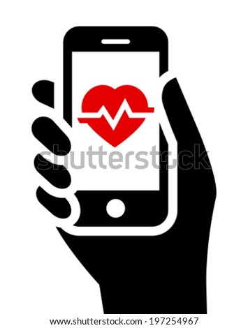 Health tools in smartphone - stock vector