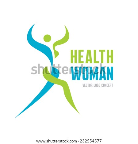 Health woman - vector logo concept. Abstract human illustration. Human character illustration. Vector logo template. Human logo. Human icon. Sport and fitness logo. Health and gymnastic logo.  - stock vector