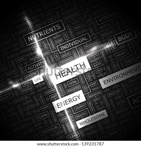 HEALTH. Word cloud concept illustration. - stock vector