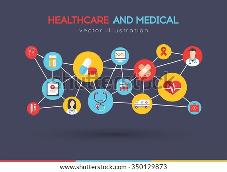 Healthcare and Medical concept background with lines and Icons of medical tools and health care equipment, science research and health treatment service. Abstract background. Vector illustration - stock vector