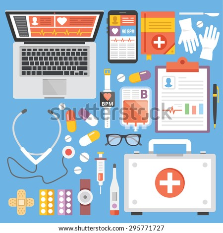 Healthcare and medicine flat illustration concepts and flat icons set. Flat design graphic concepts for web banners, web sites, printed materials, infographics. Creative vector illustration - stock vector