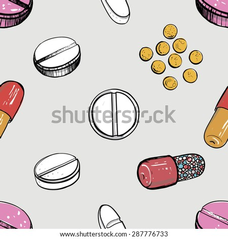 Healthcare background with dragee, pill, caplet, capsule, tablet, aspirin, pastil. Hand drawing vector seamless texture with pharmaceutical objects isolated on white background. Chess grid order - stock vector