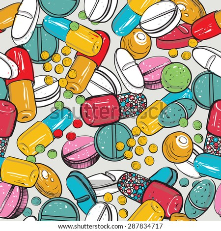 Healthcare background with dragee, pilule, pill, caplet, capsule, tablet, aspirin. Hand drawing vector seamless texture with pharmaceutical objects isolated on white background - stock vector