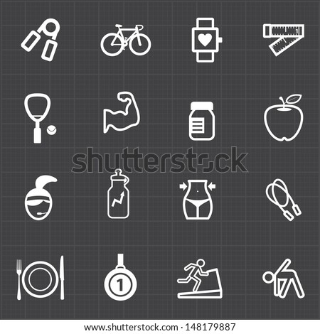 Healthcare fitness icons set and black background - stock vector