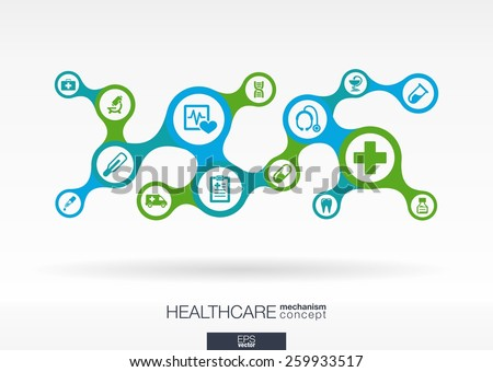 Healthcare. Growth abstract background with connected metaball and integrated icons for medical, health, care, medicine, network, social media and global concepts. Vector interactive illustration. - stock vector