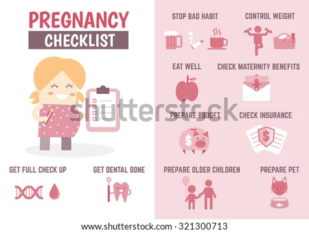 healthcare infographic about pregnancy checklist - stock vector