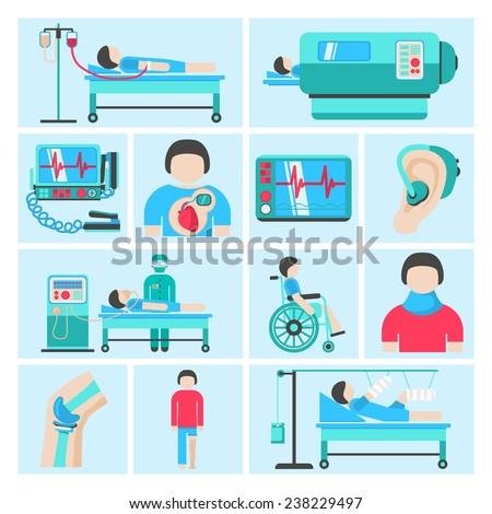 Healthcare medical patient respiratory monitoring apparatus life support infuse system flat icons set abstract isolated vector illustration - stock vector