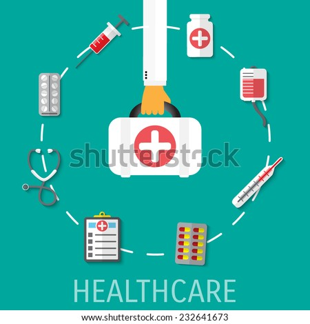 Healthcare vector flat background. Eps 10. - stock vector