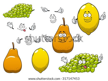 Healthful fresh yellow lemon, green grape and ripe orange pear fruits cartoon characters with funny faces for healthy nutrition or agriculture theme design - stock vector