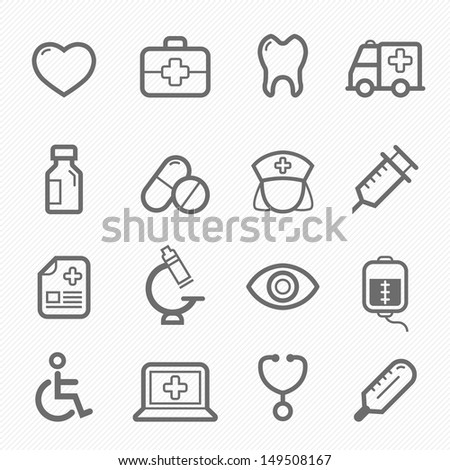 healthy and medical symbol line icon on white background vector illustration - stock vector