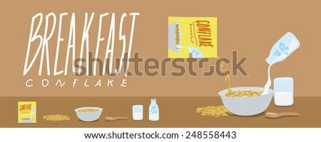 Healthy Breakfast-Cornflakes and Milk Splash Vector - stock vector