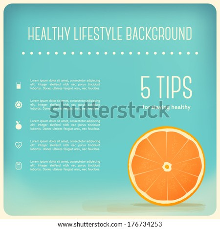 Healthy Eating and Lifestyle Background. Orange Slice - stock vector