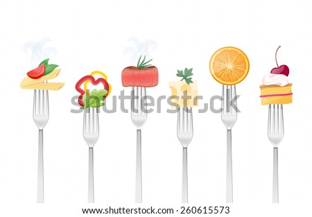 Healthy eating concept with food and forks - stock vector