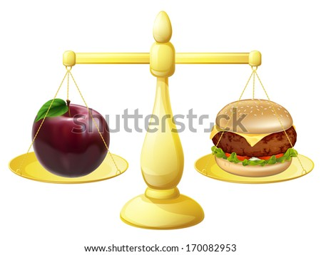 Healthy eating decision concept of an apple and burger on a set of scales - stock vector