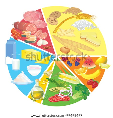 Healthy eating food plate - stock vector