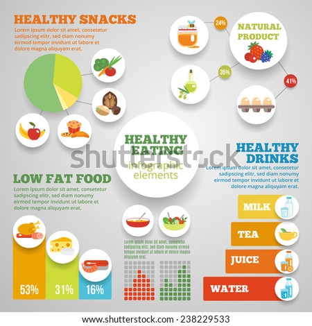 Healthy eating infographic set with low fat food symbols and charts vector illustration - stock vector