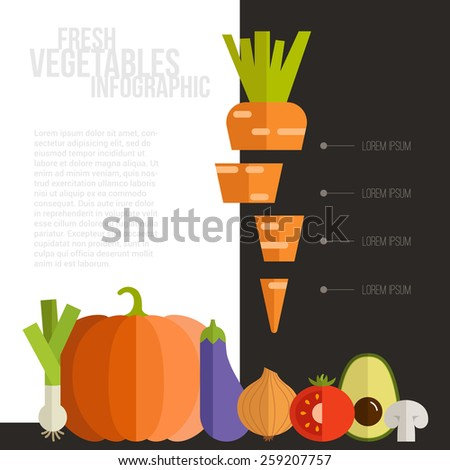 Healthy eating infographic with different vegetables in flat style. Diet and organic food magazine template.   - stock vector