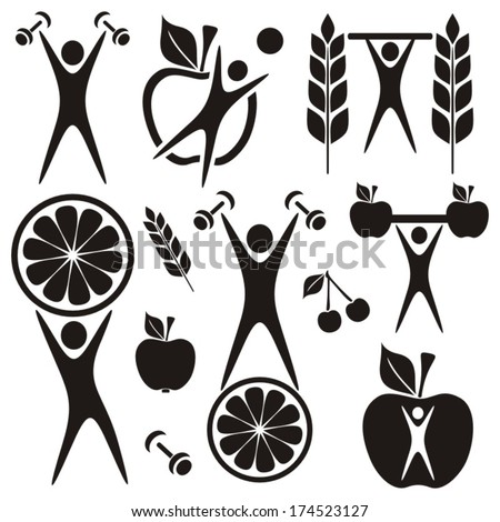 Healthy food and fitness symbols and exercising figures - stock vector