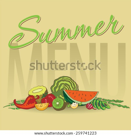 Healthy food background. Fruits and vegetables for menu design - stock vector