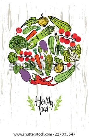 Healthy food design card - stock vector