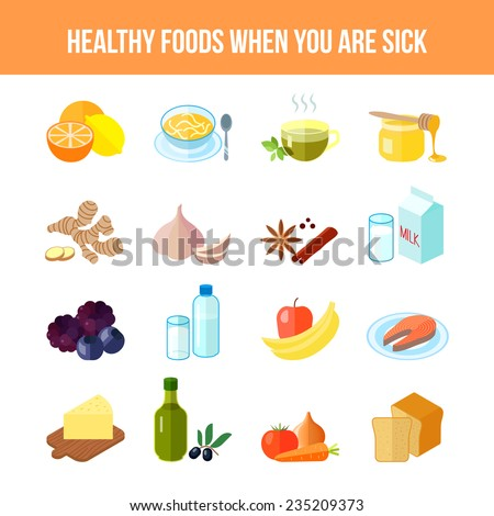 Healthy food for sick people flat icon set with lemon soup tea honey ...