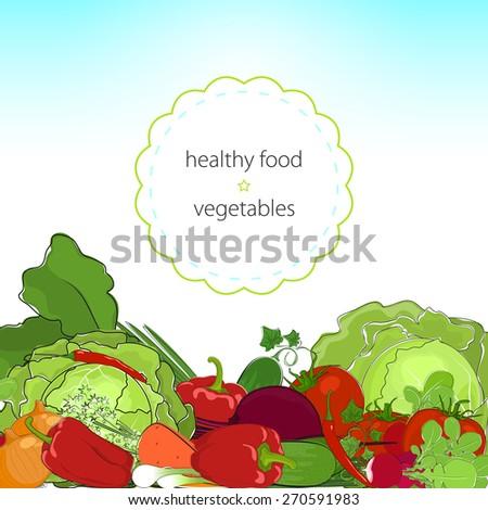 Healthy food , fresh raw vegetables, organic food, vector illustration - stock vector