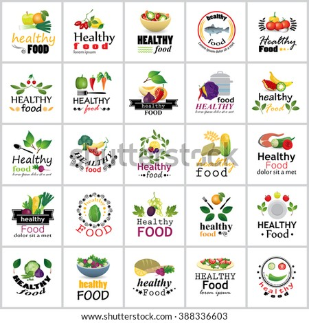 Healthy Food Icons Set - Isolated On White Background:Vector Illustration,Graphic Design.For Web,Websites,Print, App,Presentation Templates,Mobile Applications And Promotional Materials.Shopping Tag - stock vector